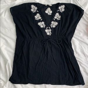 Black Swim Cover up with White embroidered Flowers